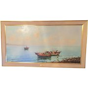 Italian Fishing Scene Original Oil Painting by A. Mariani