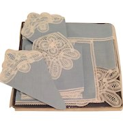Belgium Handmade Lace & Linen Boxed Vintage Place mat and Napkin set