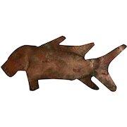 Primitive Folk Art Metal Fish Sculpture from a Farm House Upstate circa 1800's