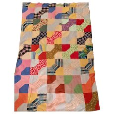 Vintage Hand Stitched Patchwork Quilt Top Wool Blanket with Sweater Knit Cherry Applique