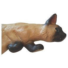 Carved Wood Vintage Folk Art Siamese Cat Door Jamb Walker