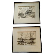 Ken Schulz Pair of Original Pencil Drawings, Smoky Mountains Artist