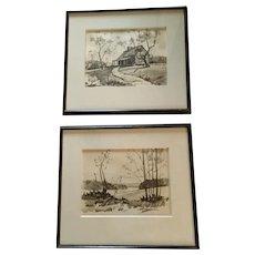 Ken Schulz Pair of Original Pencil Drawings, Smoky Mountains Artist