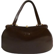 New Vintage Stock 1950's Dofan Chocolate Brown Leather Purse, made in France