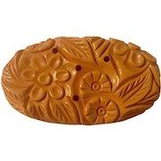 Intricately Carved Bakelite Butterscotch Brooch/Pin, 1940's