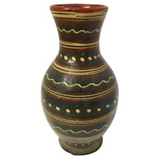 French Mid Century Pottery Vase with Geometric Design