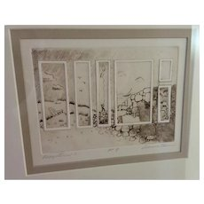 Engraving titled Perspective ll by Deanna Henion, Missouri Artist, circa 1970's- 80's.