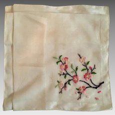 1940's Embroidered Voile Handkerchief from McCreery's Department Store, NY,New York.