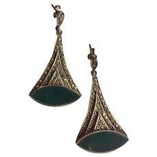 Vintage  Art Deco Inspired Sterling Silver Marcasite & Enamel Pierced Earrings