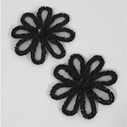 Vintage Beaded and Sequined Flower Shoe Clips