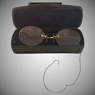 Antique Pince Nez Spectacles Frameless Eyeglasses with Chain  Ear Loop  Original Case