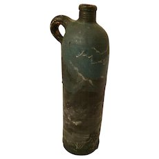 Antique  Hand Painted German Pottery Gin Bottle circa 1800's.