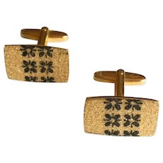 Vintage Gold Tone Cuff Links with Black Art Nouveau Design in Center