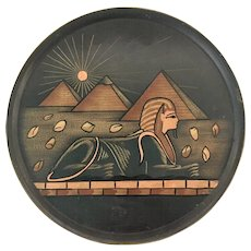 Mid Century Modern Egypt Copper and Brass Decorative Hanging Plate Pyramids and Sphinx