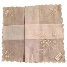 Vintage Communion Handkerchief in original Hudson's Box with Paper Doilie