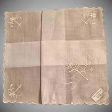Vintage Communion Handkerchief in original Hudson's Box with Paper Doilie