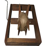 Antique Primitive Wood Kite String Winder with Metal Handle