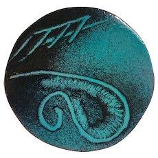 Vintage Artisan Enamel over Copper Pin/Brooch.  Signed,  Patros, Santa Barbara, Calif