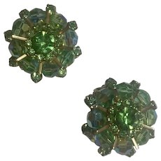 Weiss Signed Peridot, Aurora Borealis and Crystal Clip Earrings Mid Century