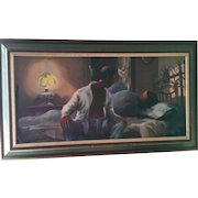"""Now or Never""Original Oil by Jon Jones, Chicago 20th Century African American Artist"