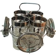 Mid Century Bar Set with  4 Highball Glasses and Aluminum Coasters in Stand, Medieval Knight Themed