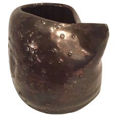 Mid Century Studio Pottery Cinched Vessel in with Textural Tenmaku Glaze, Unsigned