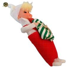 Vintage Christmas Elf Pixie Ornament Japan  Plastic & Felt
