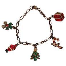 Vintage Enamel Christmas Charm Bracelet