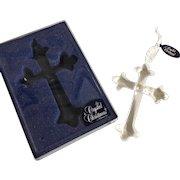 "Vintage ""New"" Stock Beveled Glass Cross Ornament  in Original Box"