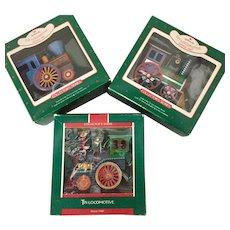 Hallmark Tin Locomotive Keepsake Ornaments - Set of 3 1987, 88 & 89 Collectors Series