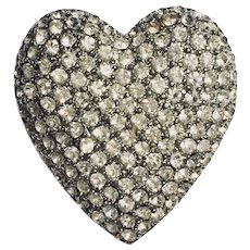 Cadoro Pave  Rhinestone Vintage  Heart Brooch Signed