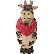 Vintage Folk Art Cow Wood Carved Nut Cracker Sculpture