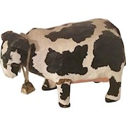 Vintage Folk Art Paper Mache Holstein Cow Art Piece with Cowbell