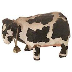 Vintage Folk Art Paper Mache Holstein Cow Art Piece with Cowbell