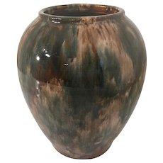 1930s Brush McCoy Brown Oil Drip Onyx Pottery Vase Ginger Jar