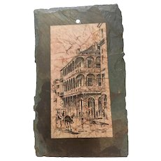 "Mid Century Nola Pen and Ink drawing  ""Royal Street""  on Slate by O.L. Coleman"