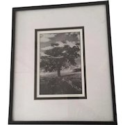 Surrealist Black and White Print of a Monstrous Tree growing out of and a 1950's Metropolis