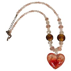 Glass Heart Lampwork Bead and Crystal Necklace with adjustable length chain and clasp.