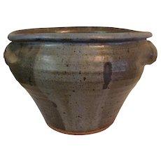 Studio Pottery Salt Glazed Shades of Grey Large Cache Pot, signed