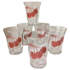 1950s Vintage Libbey Red Cherry Set of 6 Juice/Shot Glasses