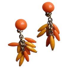 Bakelite Tangerine Orange & Yellow Cluster Faceted Dangle Clip Earrings, 1960's