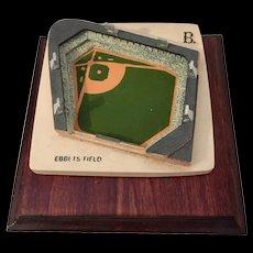 Vintage  Ebbets Field Baseball Stadium Handpainted UK by Stadia Mundi - Red Tag Sale Item