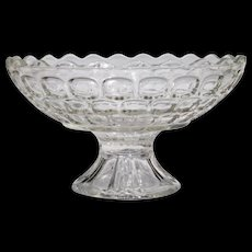 Federal Colonial Yorktown Clear Thumbprint Footed Pedestal Compote Bowl Scalloped Edge - Red Tag Sale Item