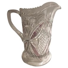 EAPG Saw Tooth Water Pitcher Amethyst/Gold Accents U.S. Glass Co.