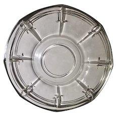 Art Deco Sterling Silver Overlay Glass Platter with Laurel Leaf Design