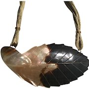 Mother of Pearl Large Dyed Carved Leaf on Multi-Silk cord Necklace