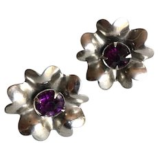 "Heart Shape Petal Vintage ""Primrose""  Sterling Silver with Amethyst Screw Back Earrings"