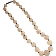 Vintage Chinese Carved Rose Quartz Graduated Bead/Amethyst Bead Necklace, 1940's -50's
