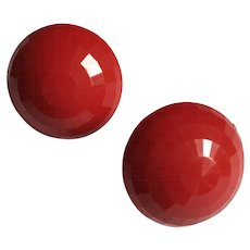 Signed Dalsheim Vintage Faceted Lucite Red Clip Button Earrings