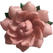 Molded Early Plastic Delicate Pink Petaled Flower Brooch set on Lucite Back, 1940's